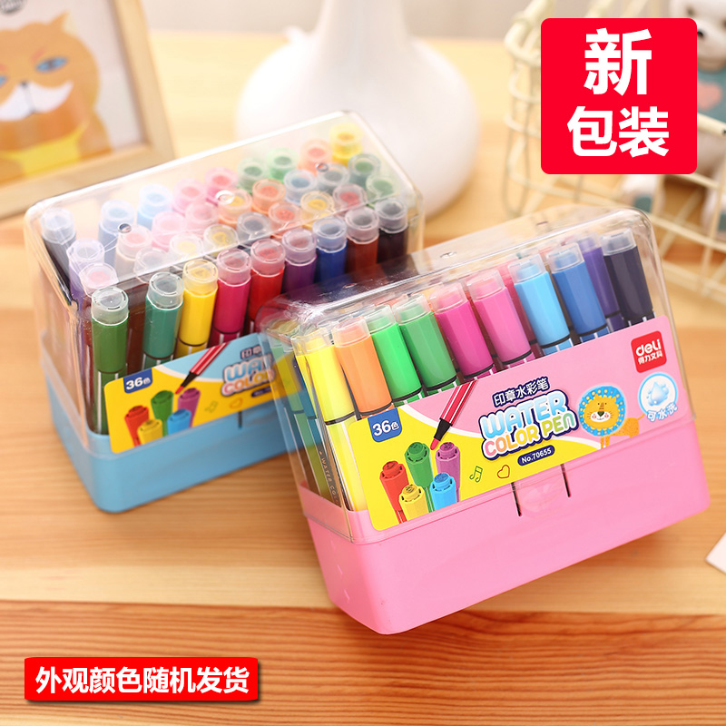 Free shipping 36 colors child belt stamp water wash brushes doodle pen deli 70655 art marker with stamp water color pen