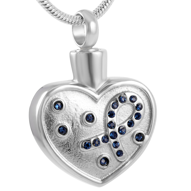 Crystal Ribbon in Heart Urn Pendant