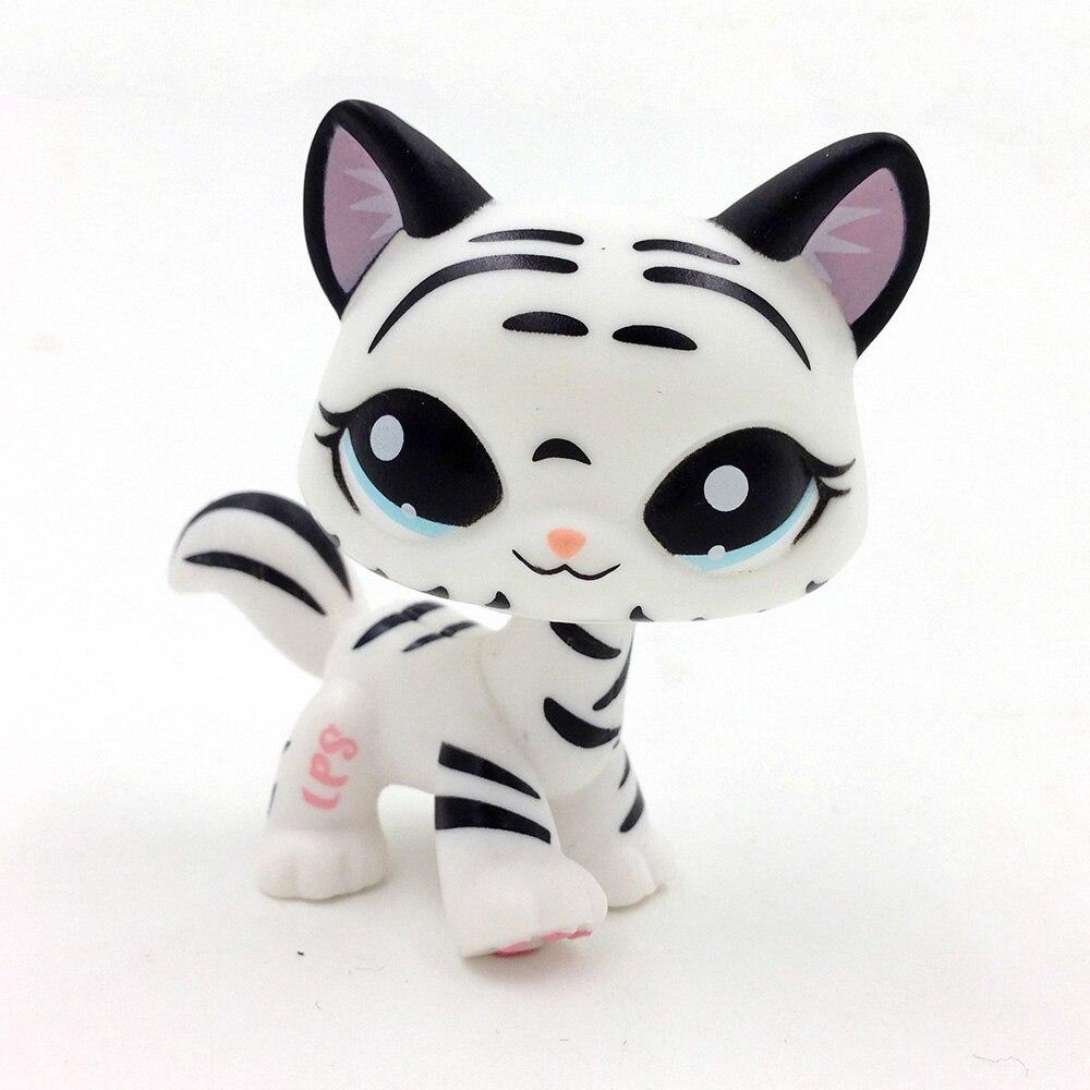 1498 LPS שחור לבן פסים חתול נמר קיטי ילדי צעצועי מתנה