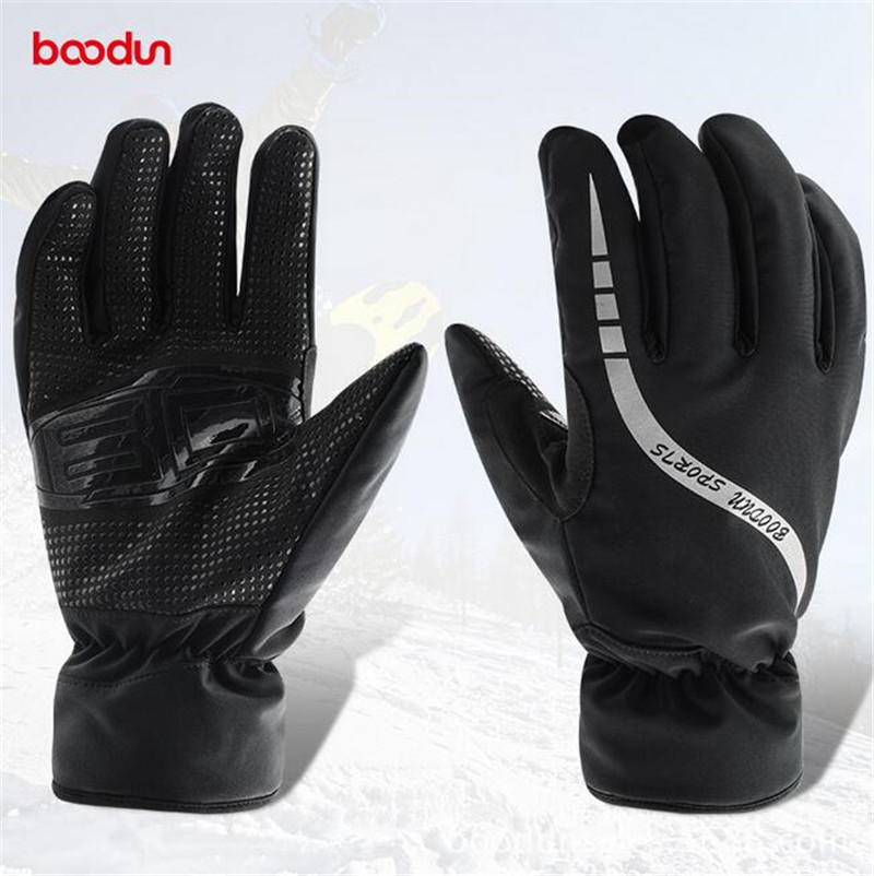 Boodun Winter Thermal Fleece Mens Skiing Gloves Windproof Waterproof Snowboard Gloves Cycling Motorcycle Gloves Keep Warm Glove