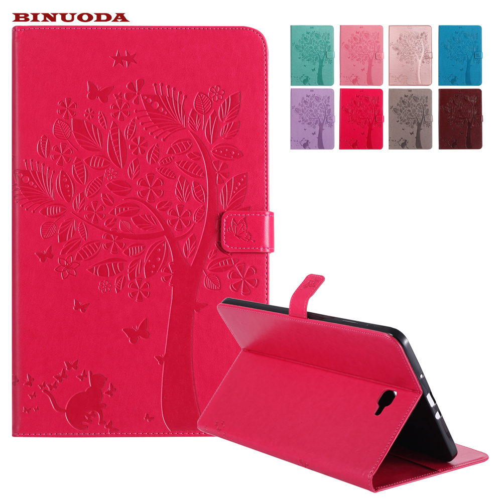 Smart Cover for Samsung Galaxy Tab A10.1 T580 T585 Emboss Cat Under Tree PU Leather Flip Wallet Stand Case SM-T580 Card Holders ultra thin smart flip pu leather cover for lenovo tab 2 a10 30 70f x30f x30m 10 1 tablet case screen protector stylus pen