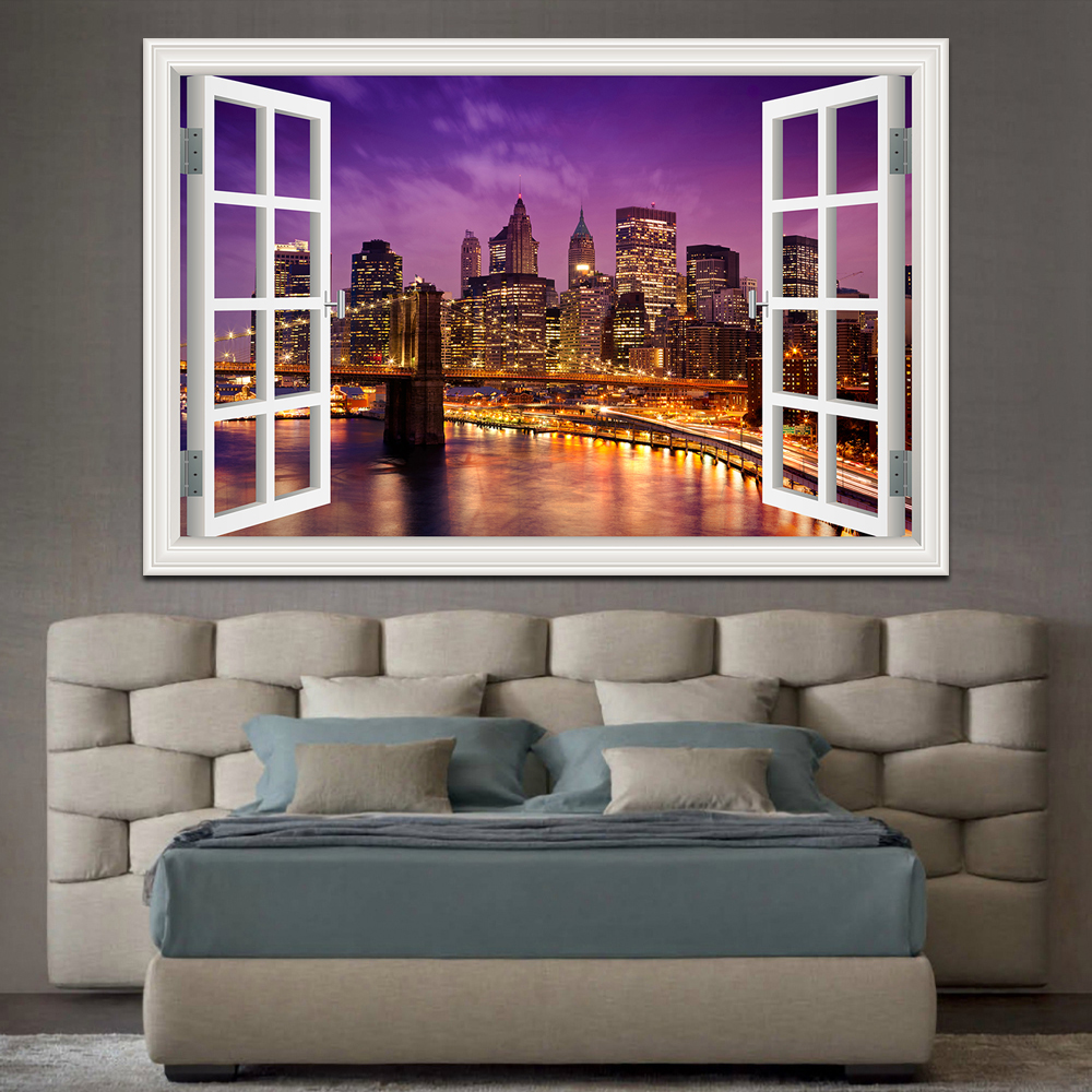New York Brooklyn 3D Window View wall Sticker Removable Night Home Decor Wall paper Wall Art Wallpaper adesivo de parede