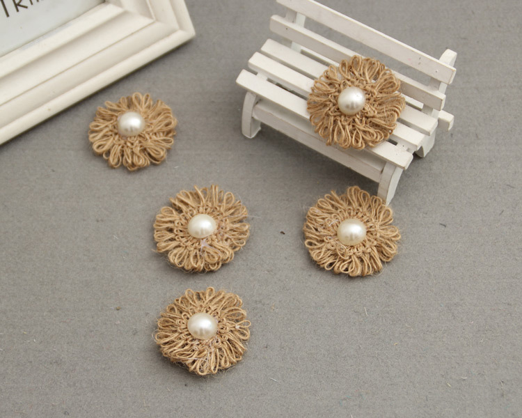 Antique Burlap Cord Flowe With Pearl For DIY Wedding Event & Party Headwear Brooch Decoration Craft 5 pcs/lot