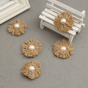 Antique Burlap Cord Flowe With