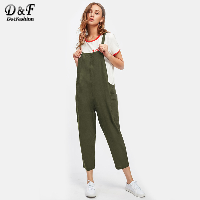 Dotfashion Pocket Side Cross Back Overall Jumpsuit Woman Green Strap Pants 2017 Sleeveless Summer Plain Jumpsuit