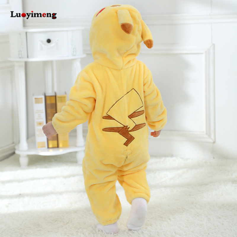 Image 4 - Baby Rompers Baby Girl Clothes Pikachu Kigurumi Kids Onesie Anime Cosplay Costume New Born Boy Pajama Flannel Warm Soft Jumpsuit-in Rompers from Mother & Kids