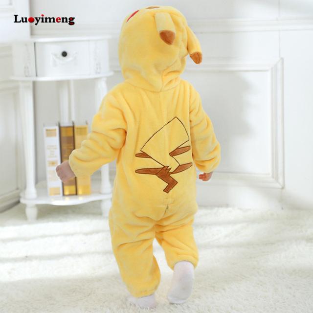 Baby Rompers Baby Girl Clothes Pikachu Kigurumi Kids Onesie Anime Cosplay Costume New Born Boy Pajama Flannel Warm Soft Jumpsuit
