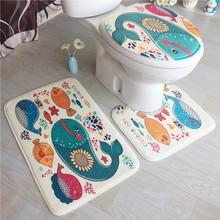 3 Piece / Set Home Non-slip Mat Fleece Floor Memory Foam Rug Bathroom Mats Set Bath Toilet Seat Cover Pedestal Rug Toilet Mat недорого