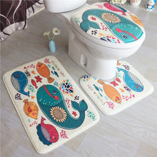 3 Piece / Set Home Non-slip Mat Fleece Floor Memory Foam Rug Bathroom Mats Set Bath Toilet Seat Cover Pedestal Rug Toilet Mat(China)
