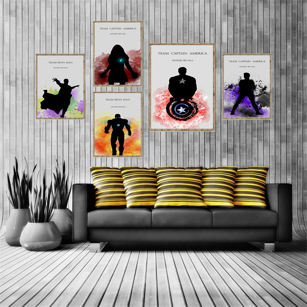 Watercolor Team Captain America Divided We Fall Wall Pictures for Living Room Movie Poster Kids Room Decor Hanging Wall Art