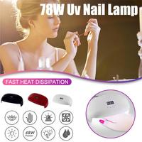 UV LED Nail Lamp 78W Professional Nail Dryer for All Gels Fits Both Hands or Feet with 4 Timer Curing Lamp