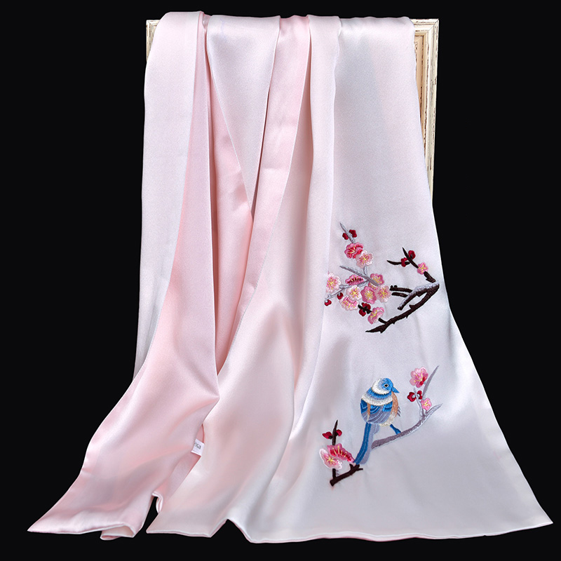 100% Pure Silk Scarf Luxury 2019 Hangzhou Silk Shawls and Wraps for Women Handmade Embroidery Natural 16 m/m Real Silk Scarves - 4
