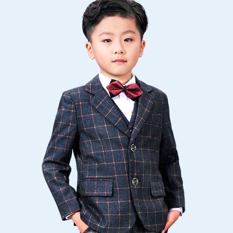 New style autumn and winter thickened children's wool plaid suit jacket British wind casual boy performance performance suit children s suit 2018 fashion england wind children s clothing autumn and winter boy plaid suit performance clothing
