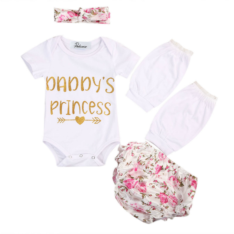Newborn Baby Girls Cotton Letter Tops Romper+Floral Bowknot Short Pants+Headband+Lace Leg Warmer 4PCS Outfit Clothes Set Sunsuit