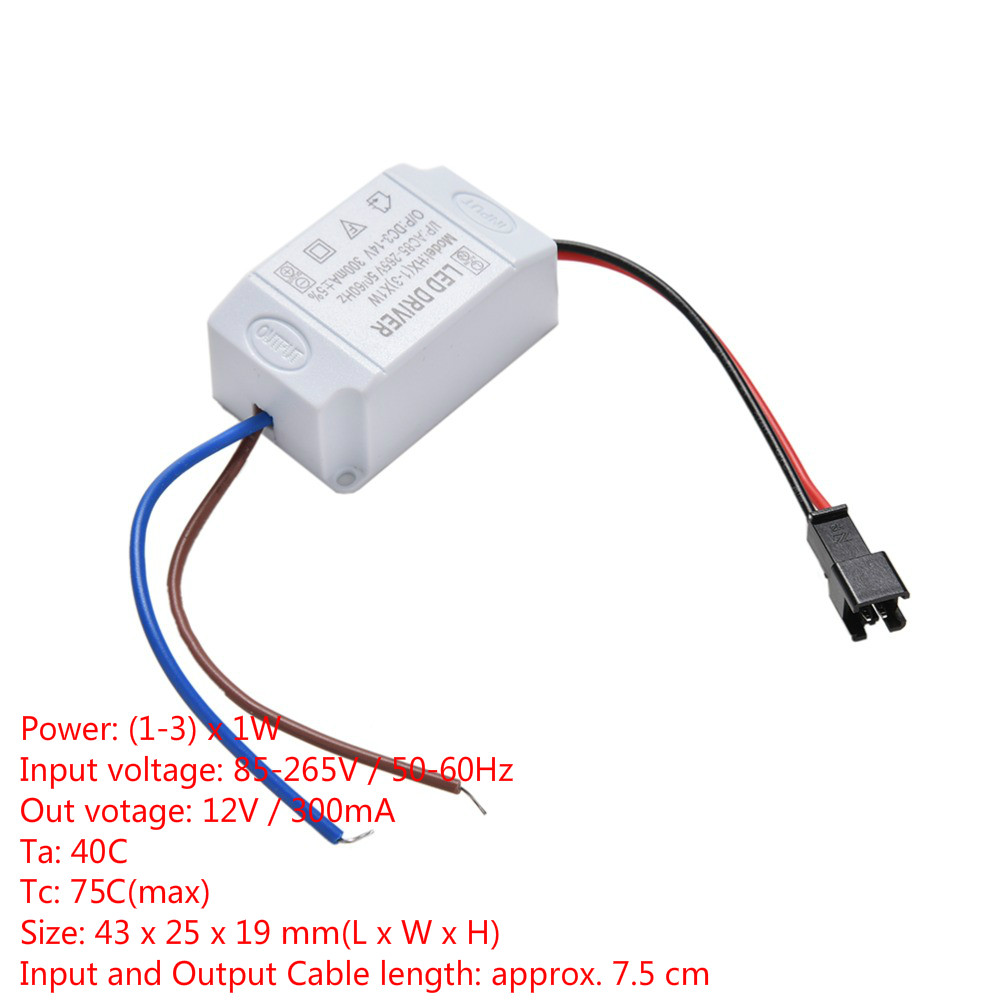 1PCS Transformer LED Power Supply Driver Electronic Adapter 3X1W Simple AC 85V-265V To DC 2V-12V 300mA LED Strip Driver