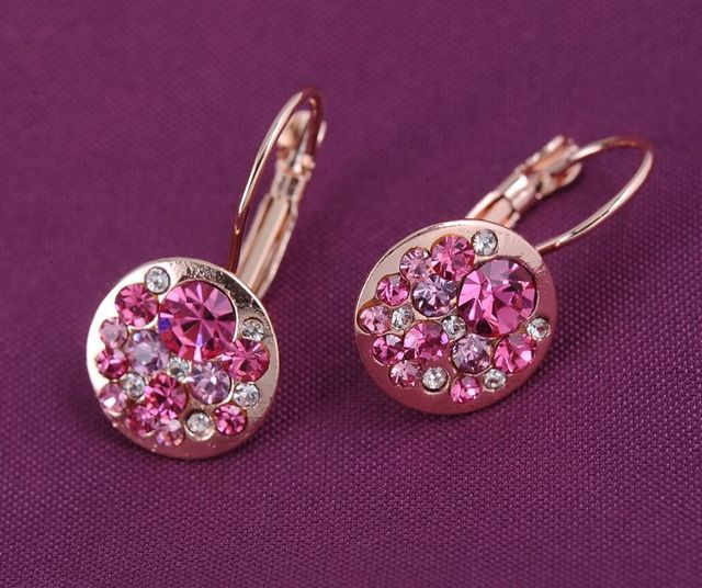 Gold Plated Round Earrings Stud With Austrian Crystals