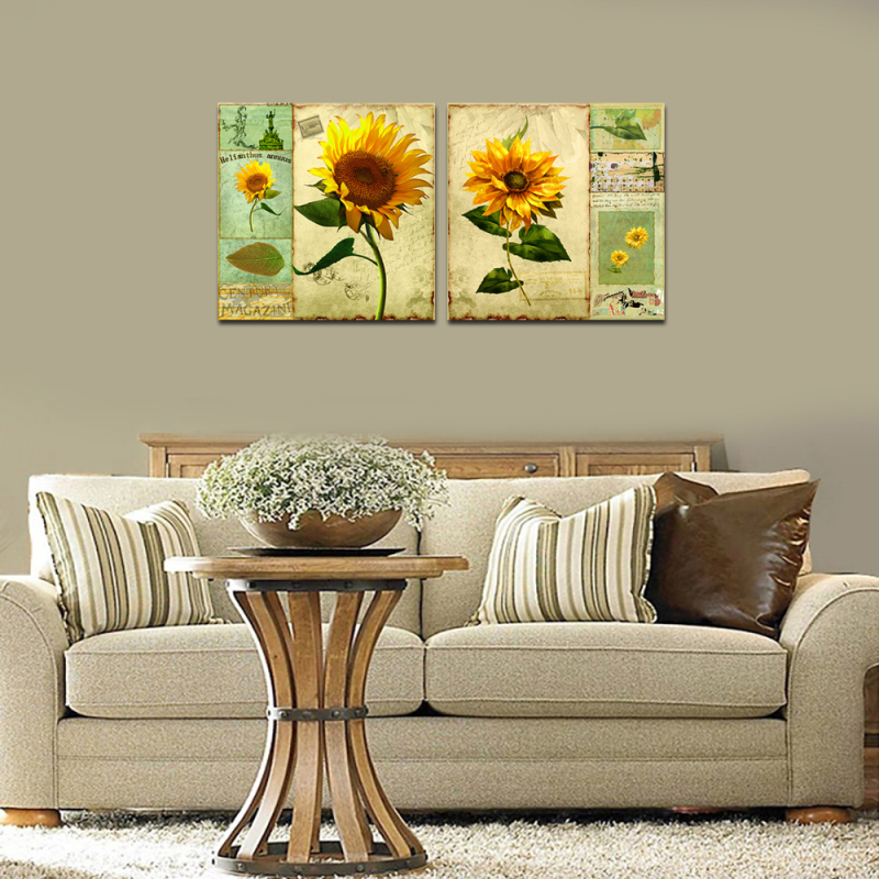 Hot Sale 2pcs Canvas Print Oil Painting Large Sunflower Vitage Poster Wall Art Sticker Living Room Bedroom Home Decoration Cafe ...