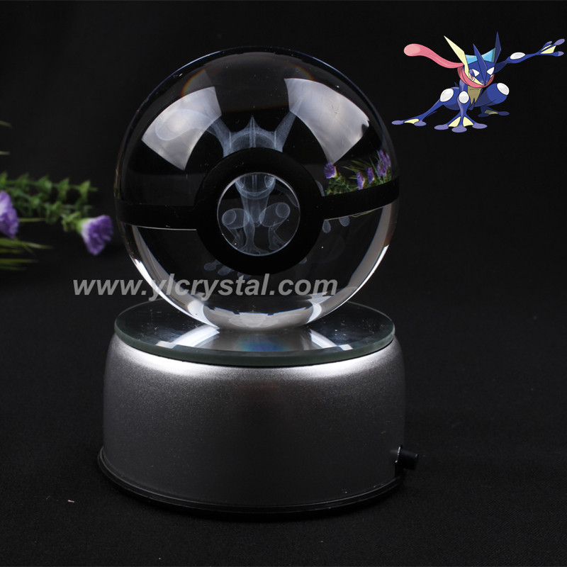 Pokemon Engraving Greninja Round Crystal With Black Line Nice Fashion Ball With LED Base With Gift Box