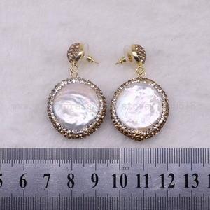 Image 5 - 5 pairs Natural pearl dangle earrings drop earrings golden color crystal druzy drop earrings  Gems jewelry 3318