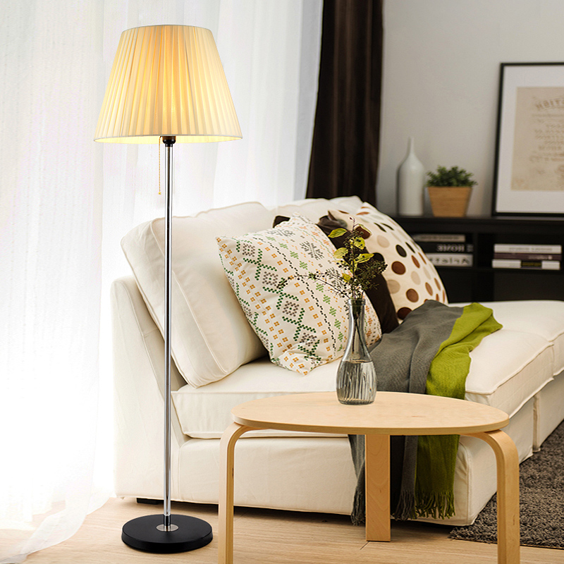 Modern simple living room bedroom bedside lamp European creative fabric decoration remote control LED floor lamp dimming lamp