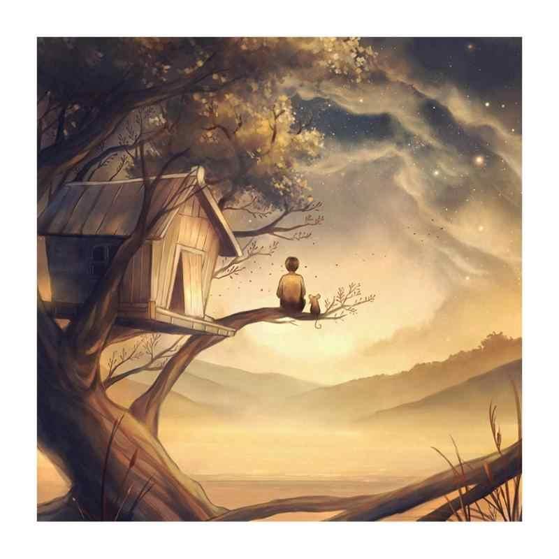 บ้านไม้ตัวละครเด็กเพชรภาพวาด 5D รอบ & square diamond cross stitch ภาพวาดตกแต่งบ้าน