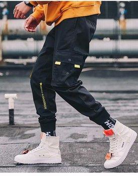 цена на Men Fashion Sporty Pants For Hiphop Causal Runnings Pants High Street Jogger Pants New Pocket Trousers