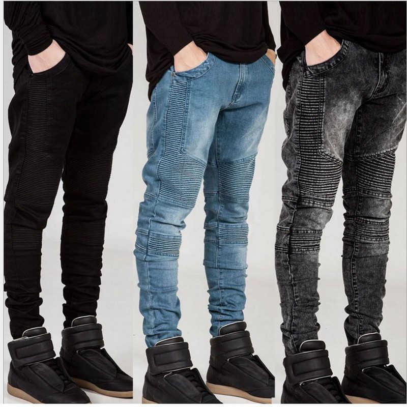 Rower Jeans 2019 męskie denim biker jeans zamek proste męskie stretch slim fit jakości dżinsy klasyczne niebieski tanie biker jeans hip hop