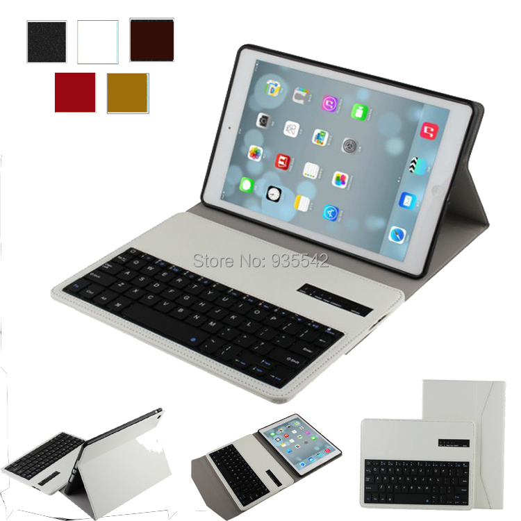 ФОТО For iPad Air /for iPad 5 Bluetooth Keyboard Portfolio Leather Case - Slim SmartShell Stand Cover w/ Detachable Keyboard, White