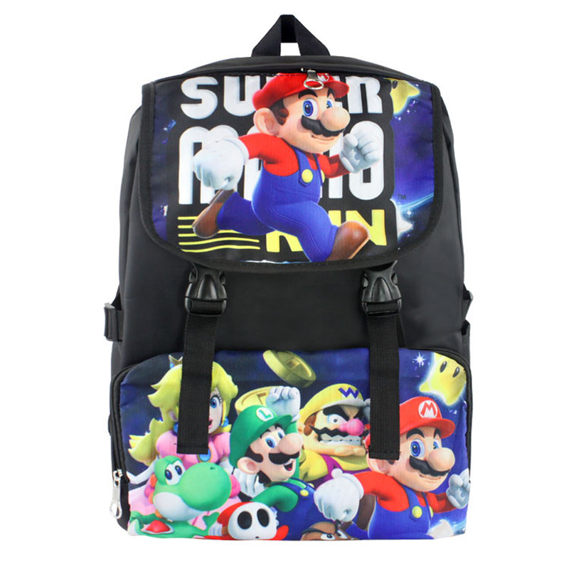 Super Mario Nylon Waterproof Laptop Backpack Travel Double-Shoulder Bag School Bag oiwas 2901xl nylon travel double shoulder backpack bag black 32l