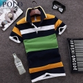 Royal Queen's Polo Team summer men Male men's short-sleeved lapel stripes business casual clothes cotton tide polo shirt tee