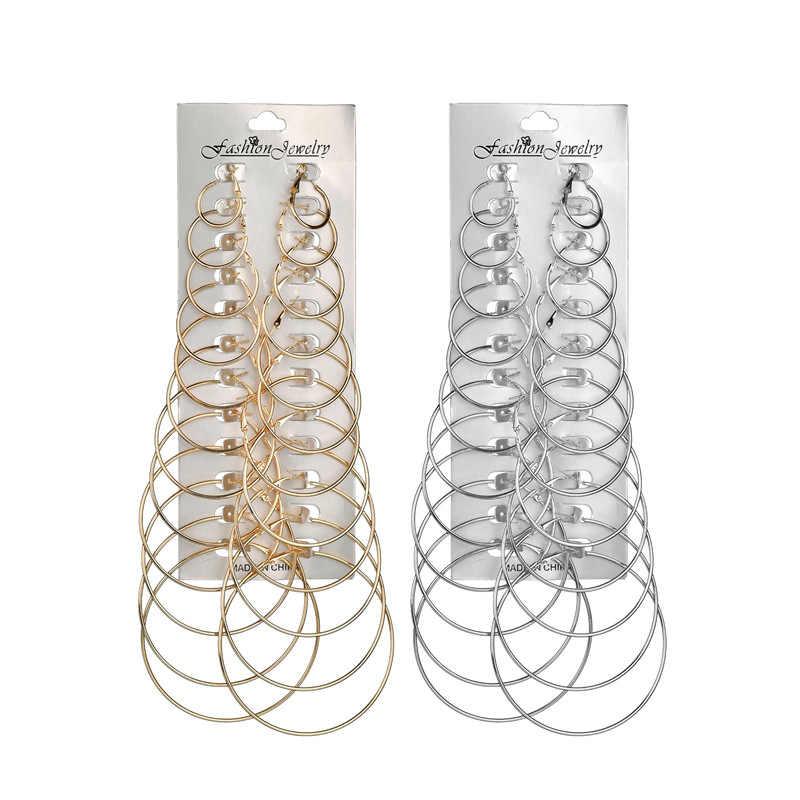 Дешевые 12 пар/лот круглый обруч серьга в форме Луны наборы для женщин Женский Большой Круг висячие серьги шпильки уха кулон Brincos Aros ювелирные изделия