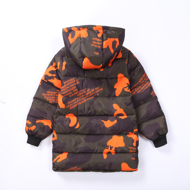 New Winter Children Camouflage Jackets For Boys Outerwear Down Cotton Jacket boys Long Coats Hooded  Kids Coat Both sides wear 2017 boys winter jackets coats fashion hooded warm winter jacket for boys kids cotton outerwears coats for 10degree boys parkas