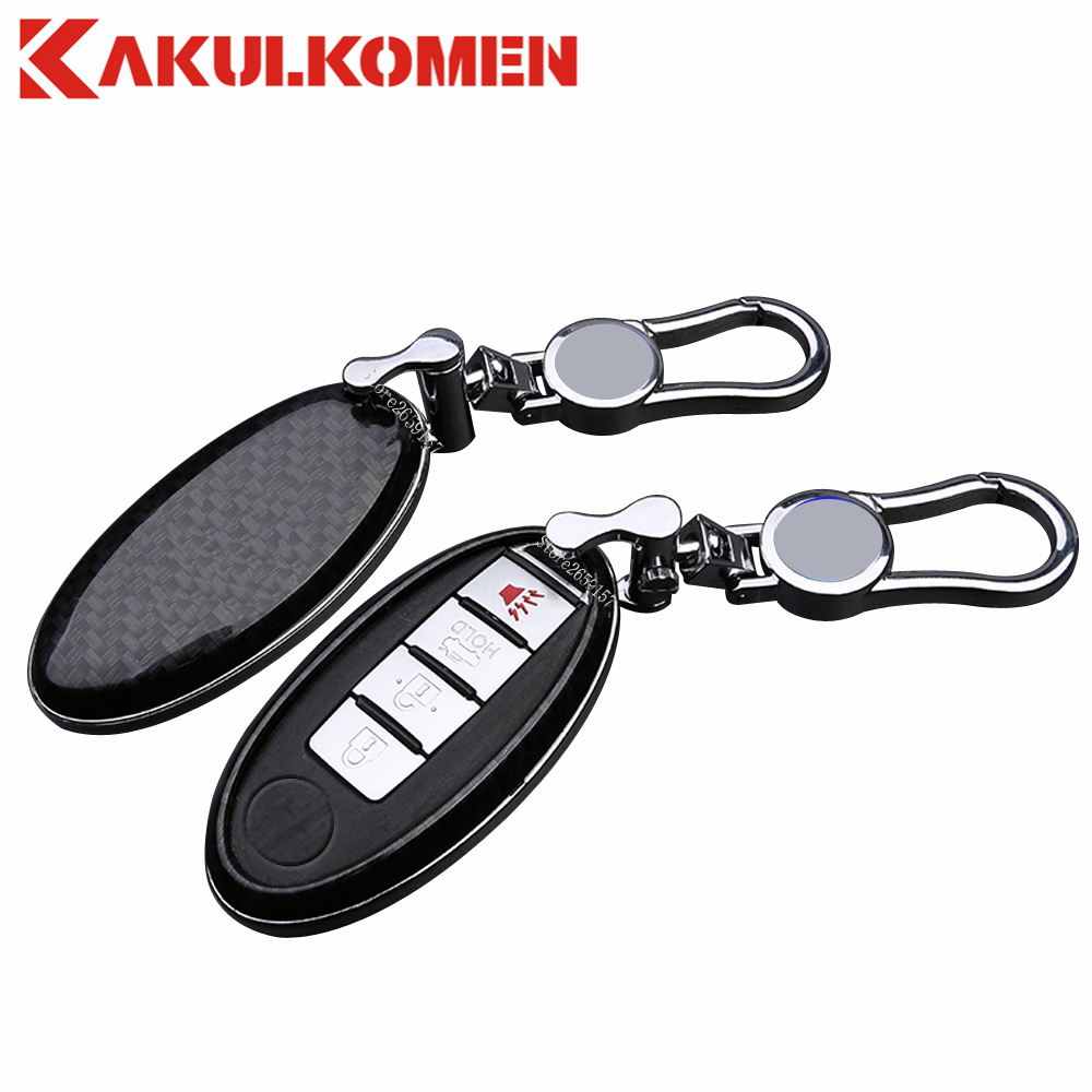 New Carbon Fiber Car Auto Remote Keyless Entry Key Case Cover Fob Holder Shell for Nissan Teana X-Trail Qashqai Juke Tiida