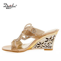 Daitifen Stylish Summer Ladies Open Toe Shoes Beautiful Crystal Hollow Out Petals High Heel Wedges Nightclub