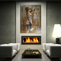 Free Shipping Modern Figure Painting Music Girl Playing the Violin Canvas Oil Painting On Canvas Wall Art Decoration Art Picture