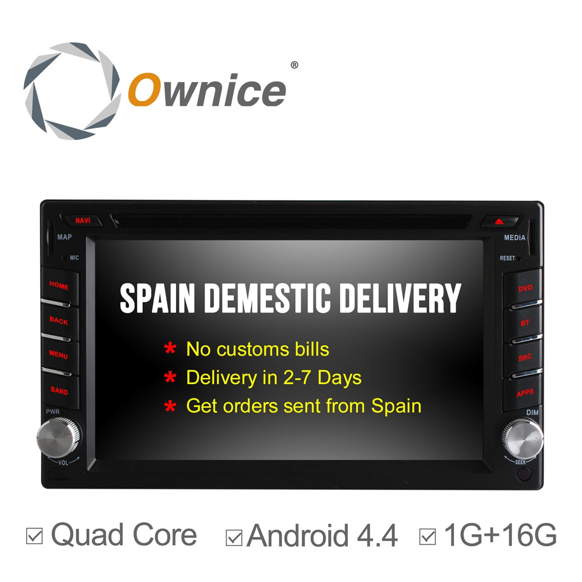 Ownice C300 Quad Core Android 4.4 Universal Car DVD Player GPS Navigation 2Din Car Stereo Radio 16G ROM support mirror link IPOD android 5 1 car radio double din stereo quad core gps navi wifi bluetooth rds sd usb subwoofer obd2 3g 4g apple play mirror link