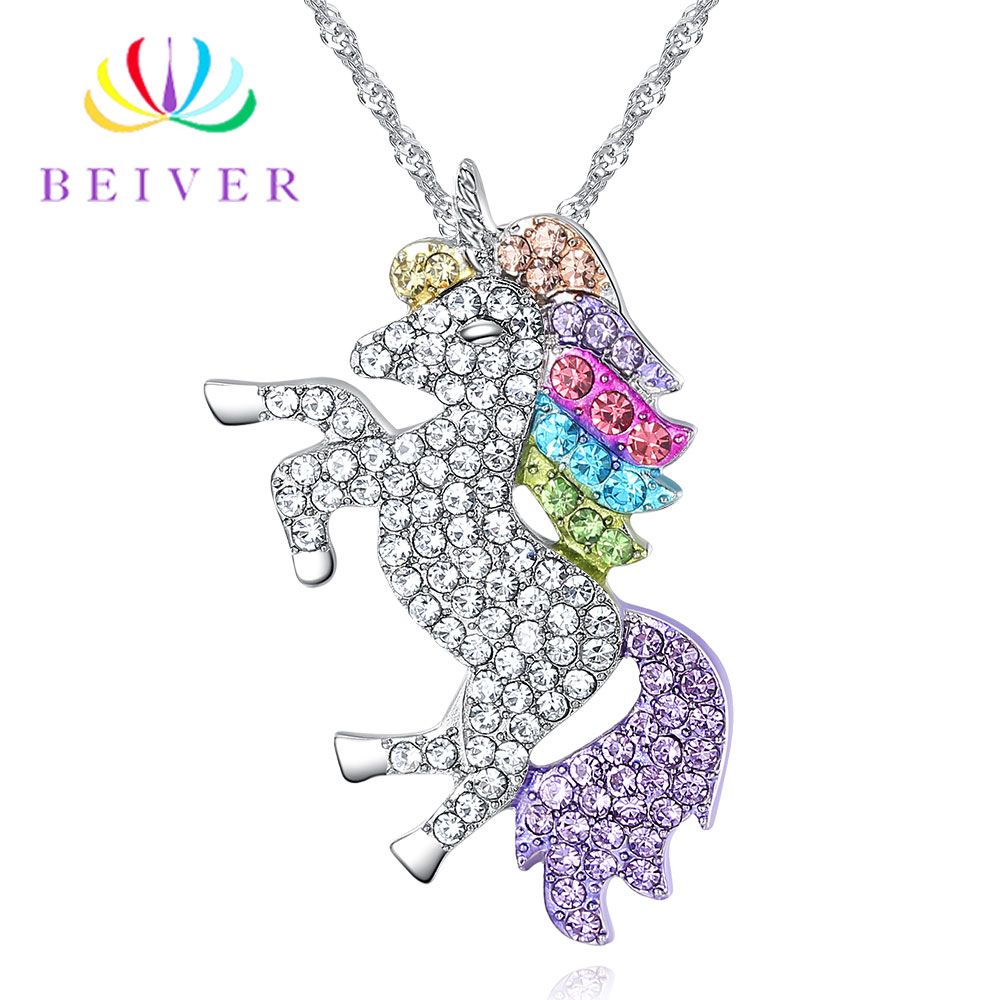 Beiver Trendy Gifts High Quality Animal Unicorn Necklace Girls Rainbow Necklaces & Pendants Women Accessories For Women