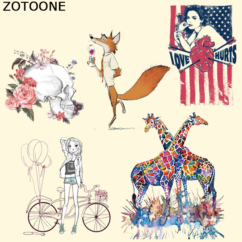 ZOTOONE Iron on Transfer Patch for Clothes Cute Animal Skull Decoration DIY Stripes Applique T-shirt Custom Stickers
