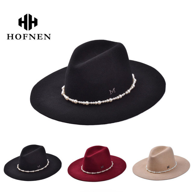 393cab43c78e4 Fashion Vintage Lady Girls Wide Brim Wool Felt Fedora Hat black Floppy  ClochePearl decotation wholesale in stock