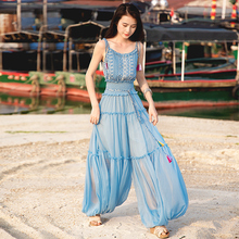 Free Shipping Boshow 2019 New Fashion Long Chiffon Jumpsuits For Women High Quality Sleeveless Summer Bloom Pants S-L