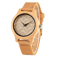 Fashion Hand Made Small Size Women Bamboo Wooden Quartz Watch Creative Design With Genuine Leather Watch