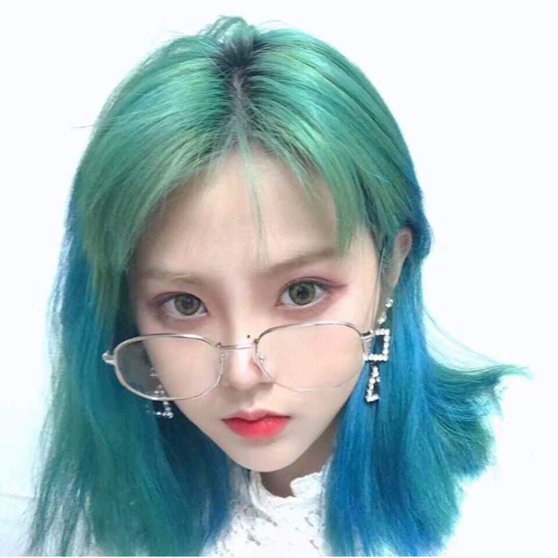 Generous Harajuku Fashionable Synthetic Wigs Green Ombre Blue Wig For Women Heat Resistance Costume Party Wigs + Wig Cap Fixing Prices According To Quality Of Products