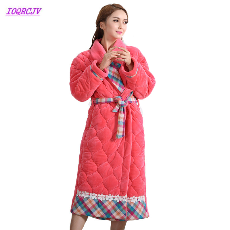 Winter Robes Sexy Sleepwear High Quanlity Warm Cotton Flannel Nightgown  Pajamas Women Homewear Belt Coral Velvet Robe Bathrobe80-in Parkas from  Women s ... f9894da88