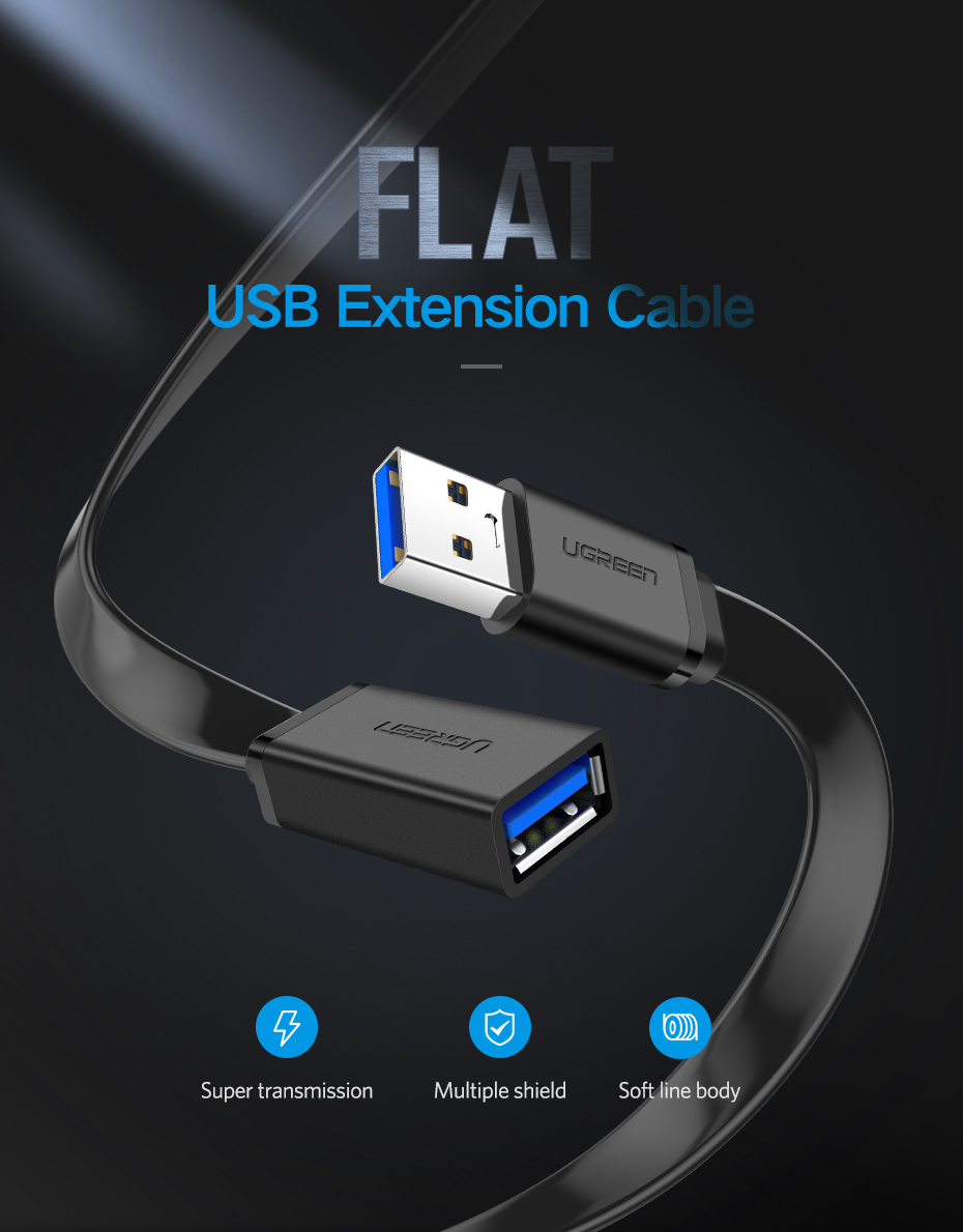 Ugreen USB 3.0 Cable Flat USB Extension Cable Male to Female Data Cable USB3.0 Extender Cord for PC TV USB Extension Cable