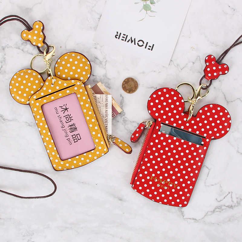 KANDRA Frauen Geldbörse Mickey Dot Karte Halter Brieftasche PU Leder Mini Tasche Zipper Dünne Kupplung Business Kreditkarte Fall großhandel