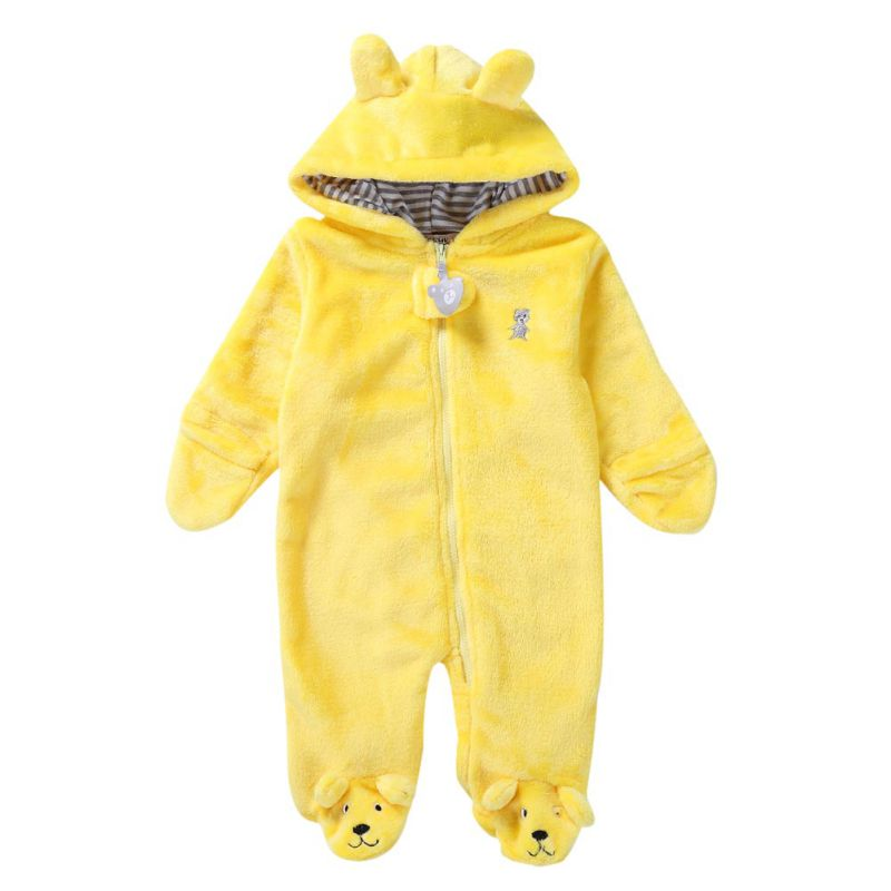 HTB1DsdoeEGF3KVjSZFvq6z nXXaP Baby Rompers Winter Warm Longsleeve Coral Fleece Newborn Baby Boy Girl Clothes Infant Jumpsuit Animal Overall Pajamas