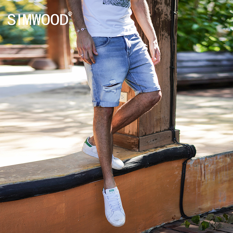 SIMWOOD 2018 Summer New Denim Shorts Men Slim Fit Ripped Hole Fashion Jeans Trousers Male Plus Size Brand Clothing 180127 qmgood men s jeans europe and the united states summer new men hole paste cloth men s jeans personalized fashion denim trousers