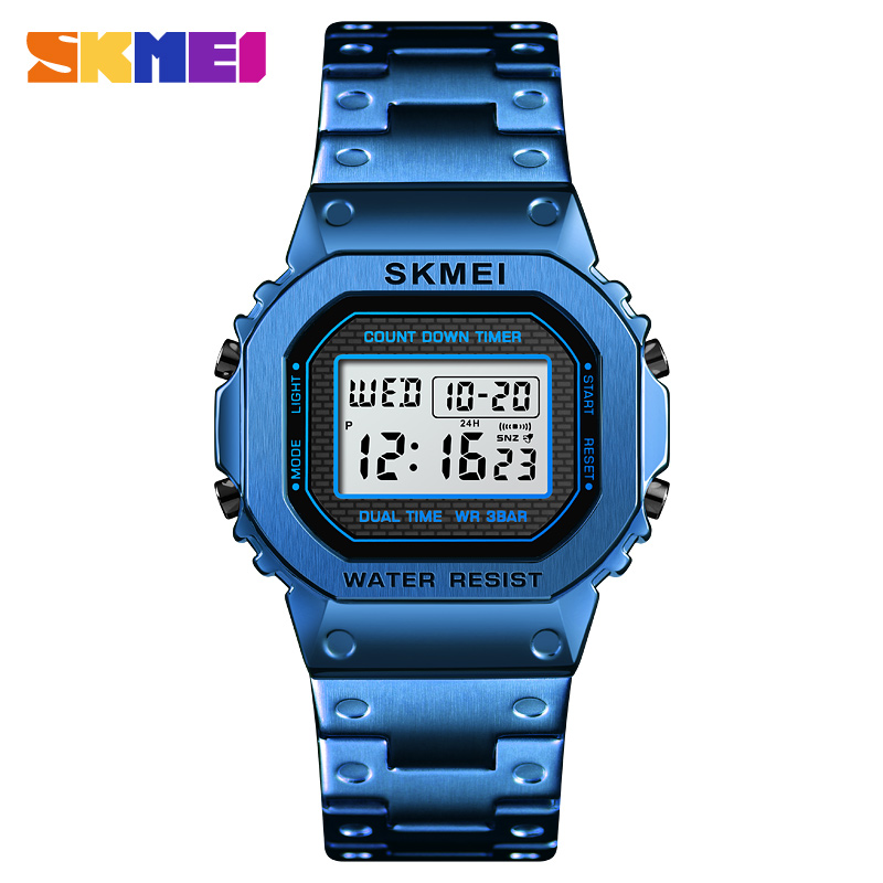 <font><b>Skmei</b></font> <font><b>1456</b></font> Waterproof Countdown Digital Watch For Men Fashion Outdoor Sport Wristwatch Stainless Steel Men's Watch Alarm Clock image
