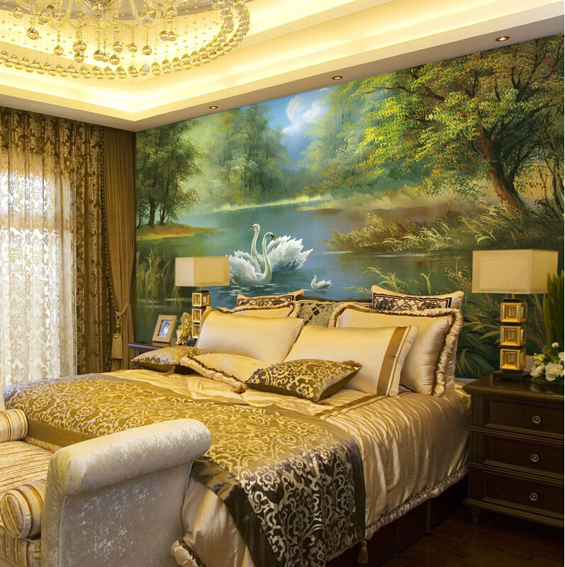 bedroom wall mural background 3d very forest paper murals decor painting wallpapers zoom