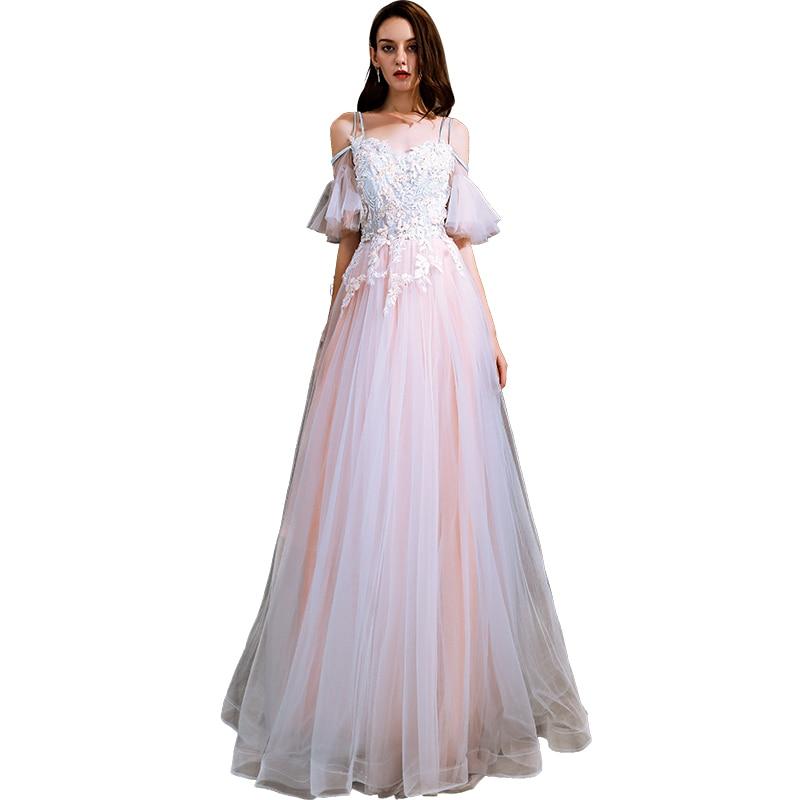 Beauté Emily blanc rose robe de soirée 2019 longue à lacets une ligne formelle fête robe de bal étage longueur robe de soirée